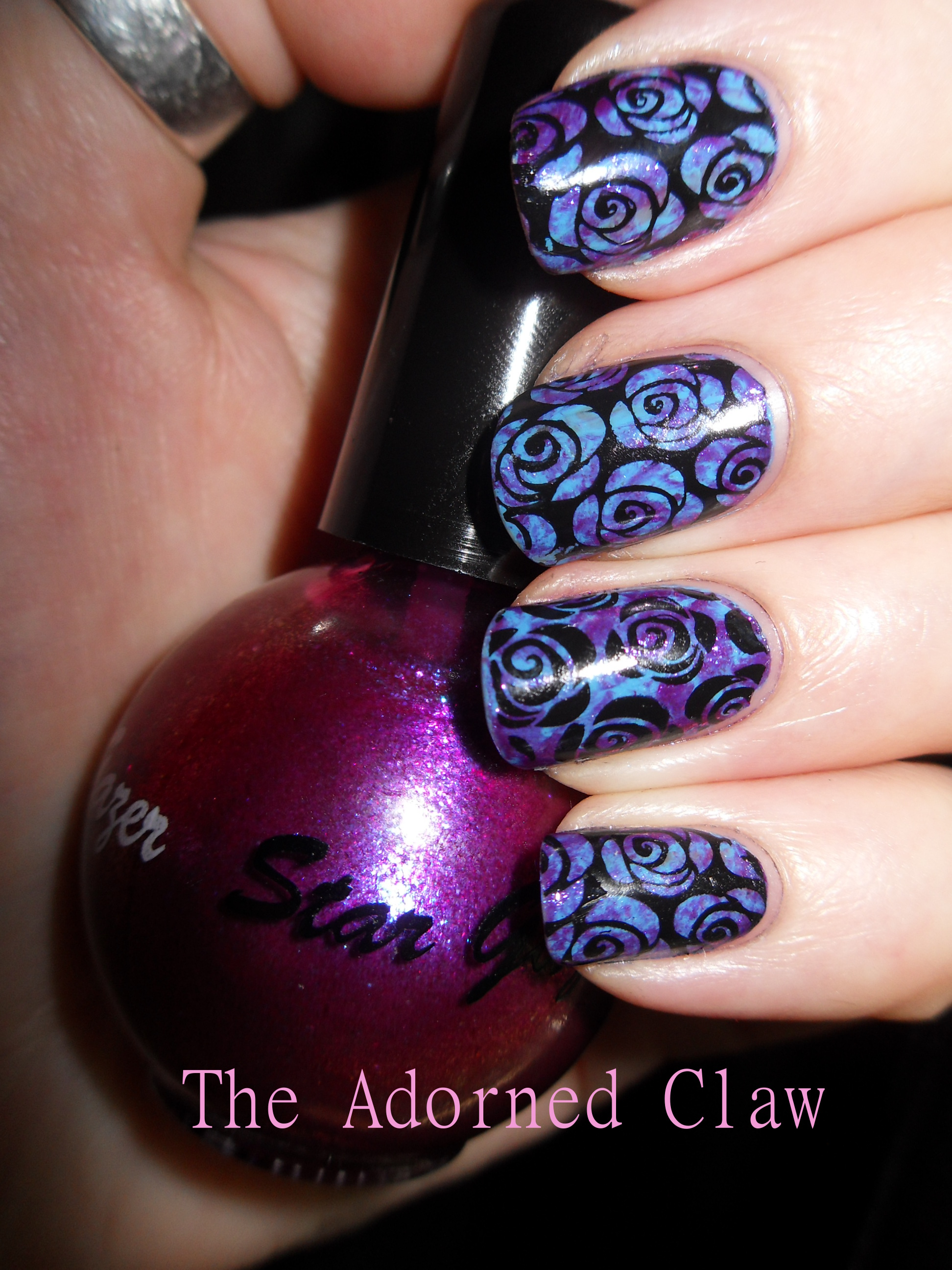 Rose Nail Net: Purple And Blue Rose Nail Art