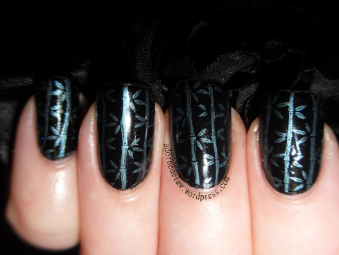 Black and Teal Bamboo Nail Art