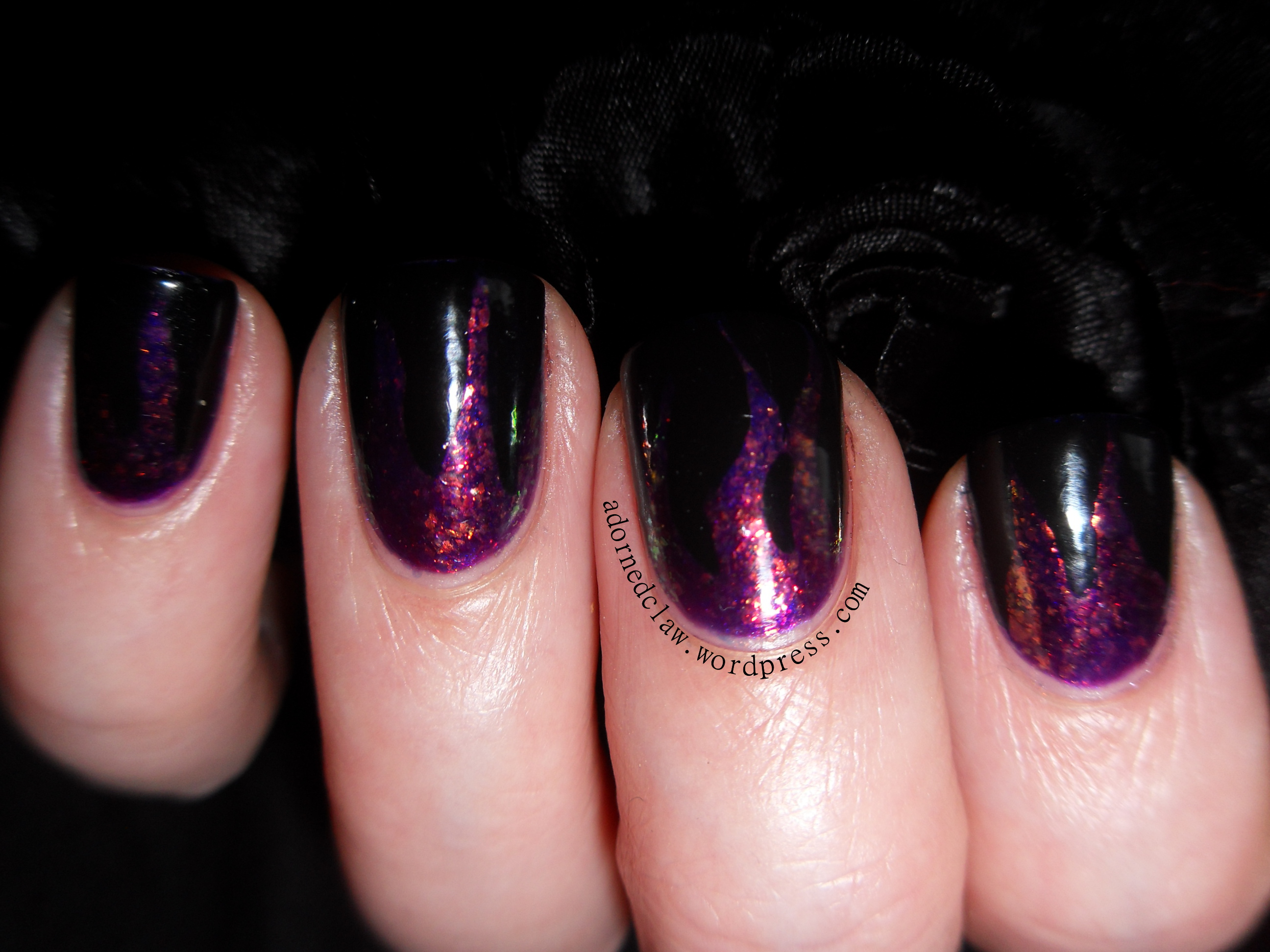 Purple Glitter Flame Nail Art | The Adorned Claw