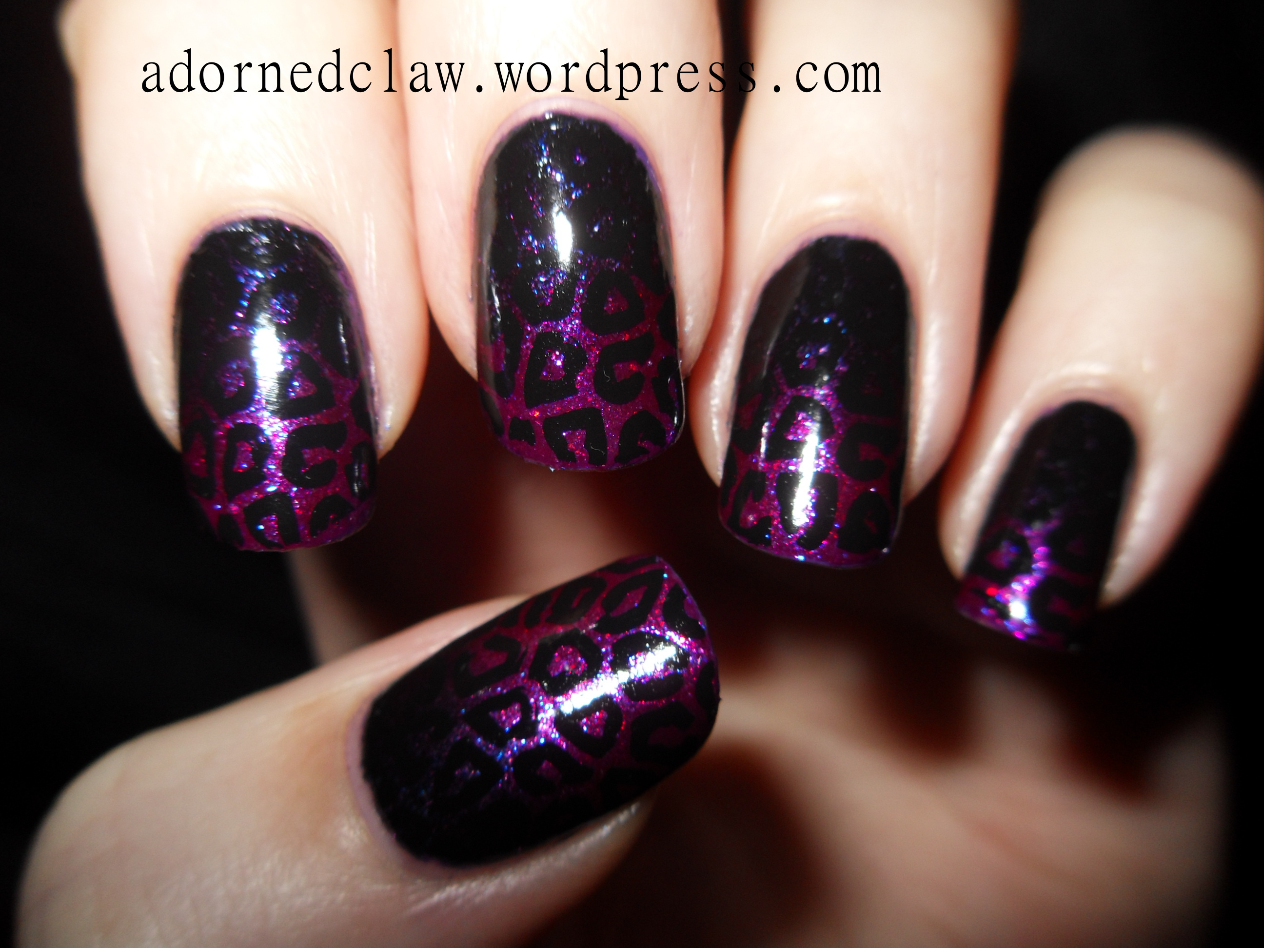 Purple and Pink Glitter Leopard Nail Art | The Adorned Claw