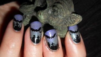 Black and teal bamboo nails the adorned claw glow in the dark halloween spooky bat nail art prinsesfo Gallery