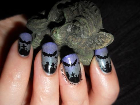 Glow in the dark Halloween bat nail art