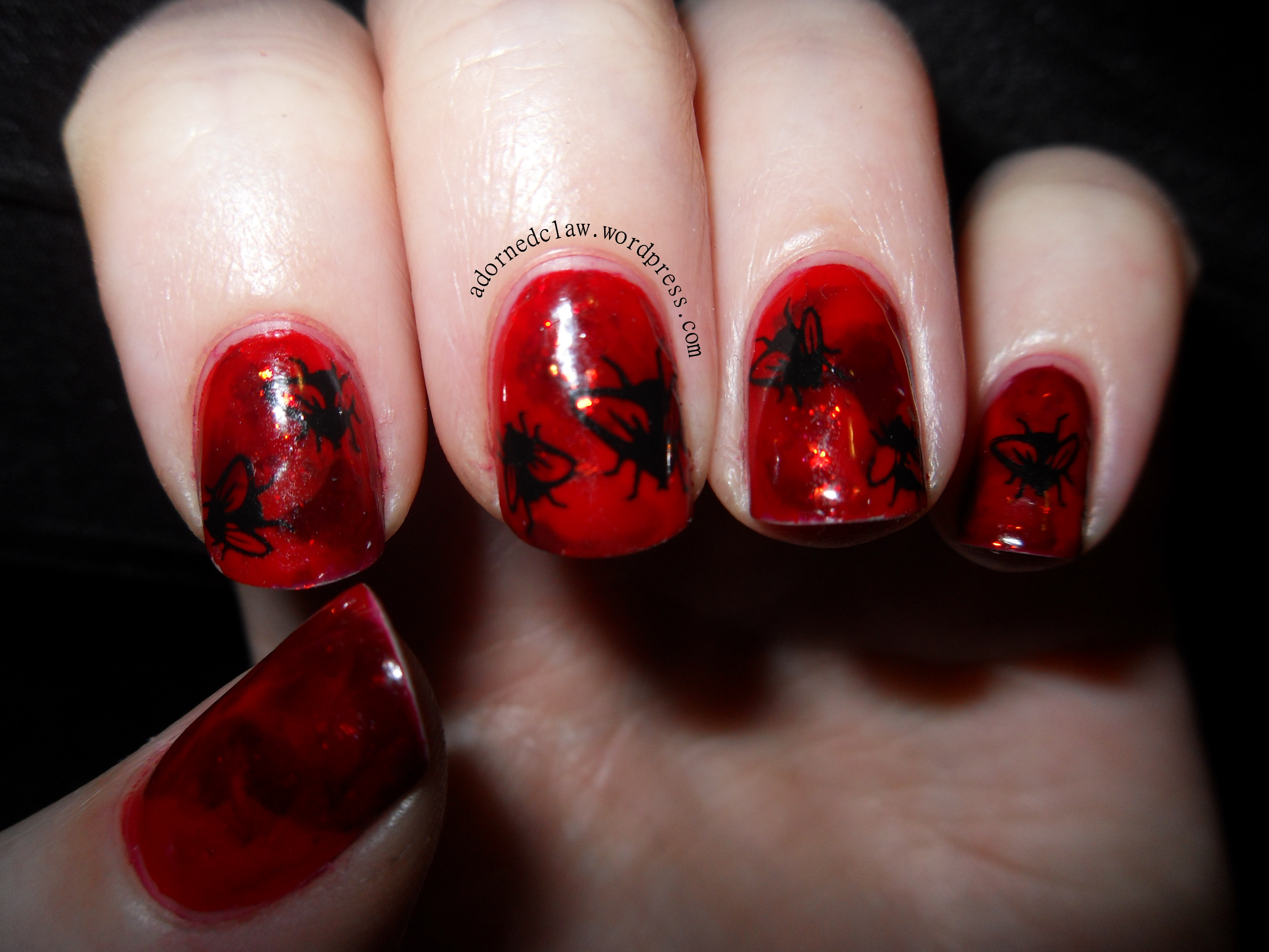 Halloween nail art gore glitter and flies the adorned claw halloween blood and flies nail art prinsesfo Choice Image