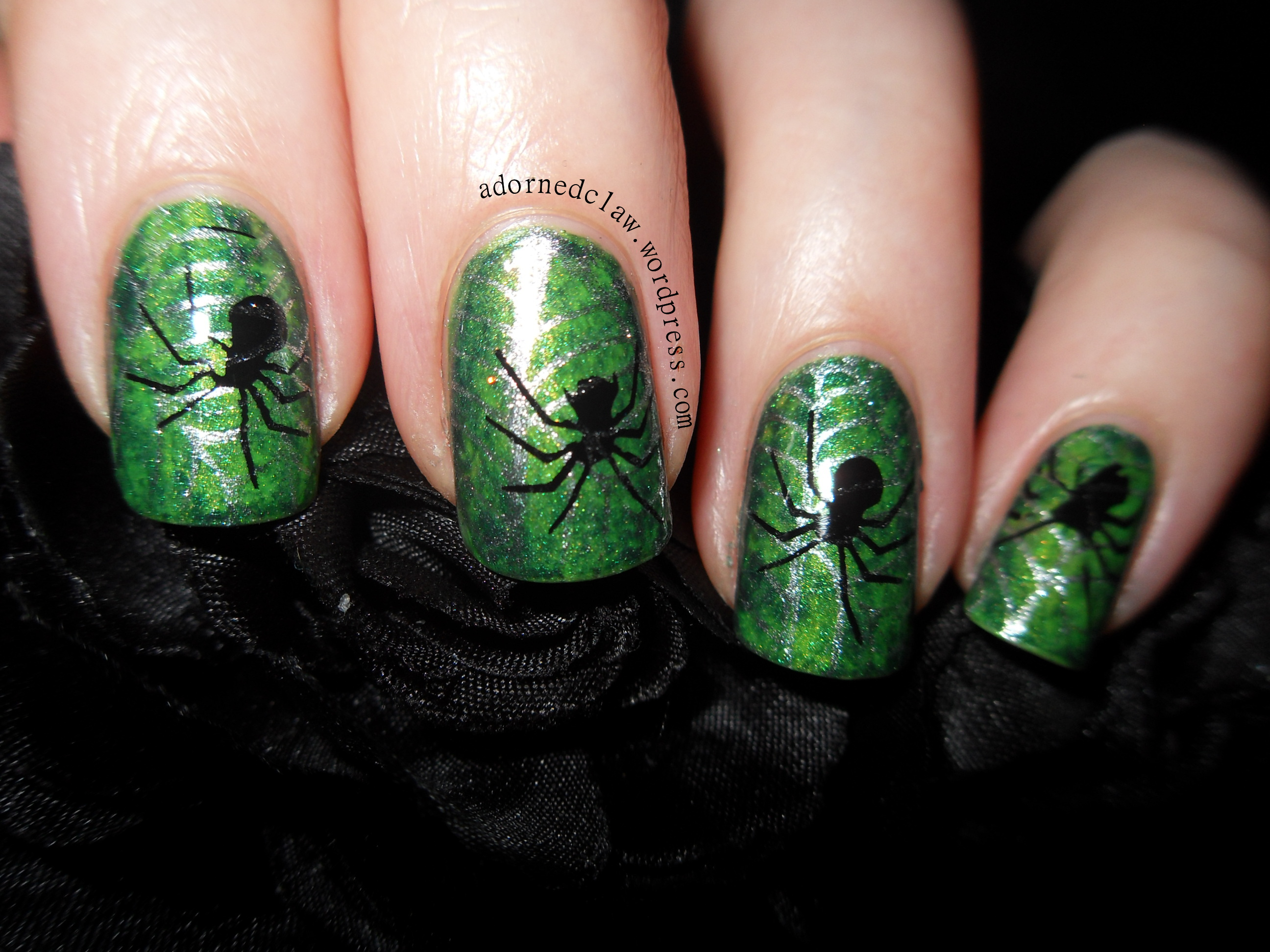 Halloween Spooky Green Spider Nail Art! | The Adorned Claw