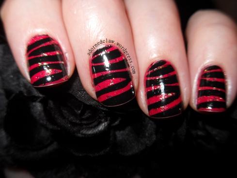 Pink Glittery Zebra Nails