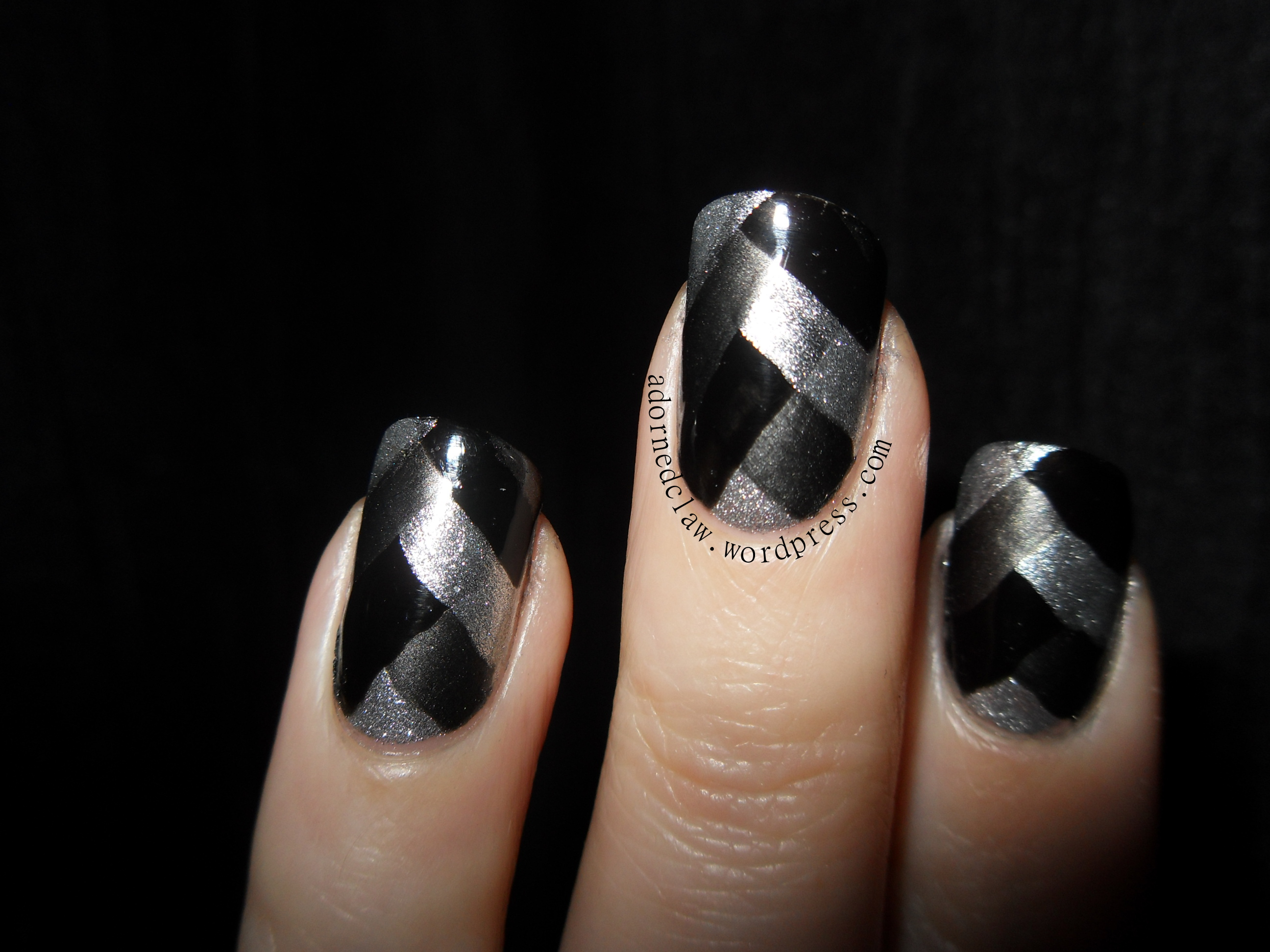 My first attempt at braided nail art the adorned claw black silver grey braided nails prinsesfo Images
