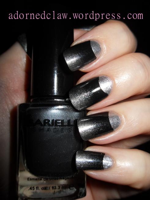 Silver and Black Half Moon Nails