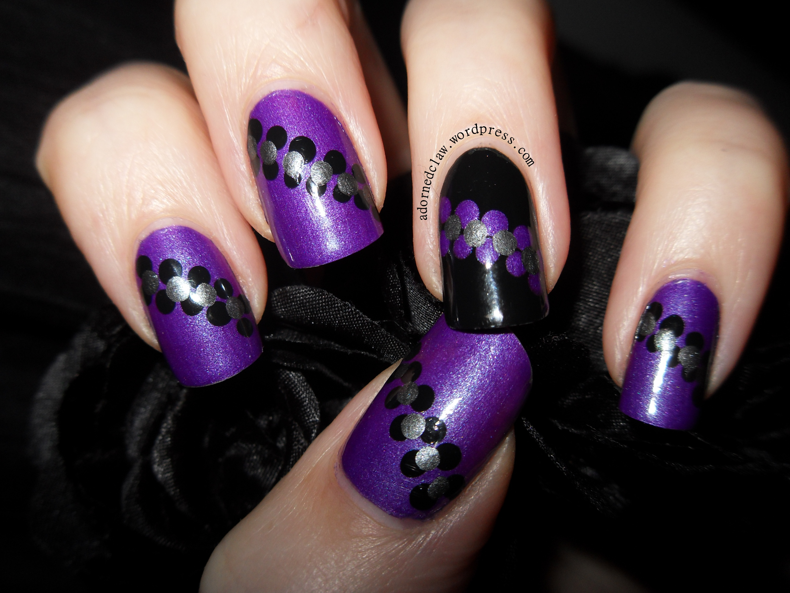 Poke, Snap and Scorn! Purple Dotted Stripe Nails. | The Adorned Claw