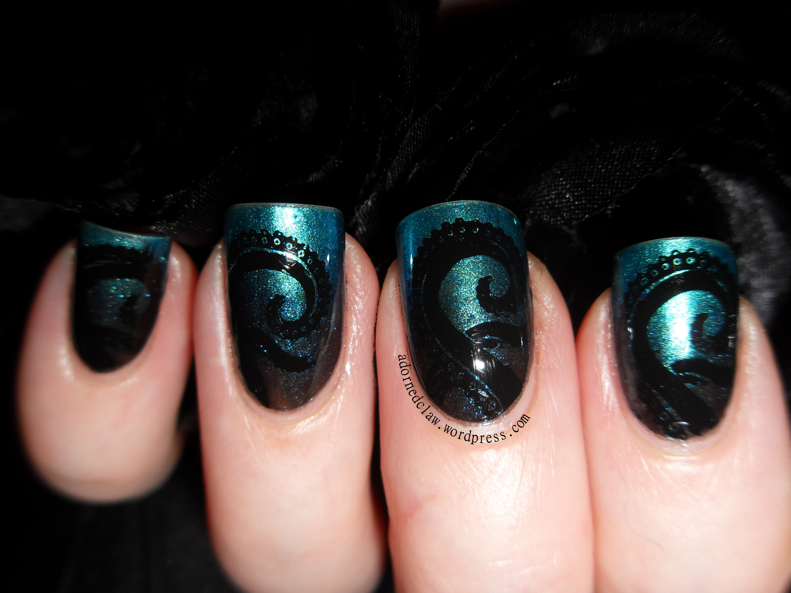 Slightly steampunk tentacle nail art the adorned claw mmmm octopus prinsesfo Gallery