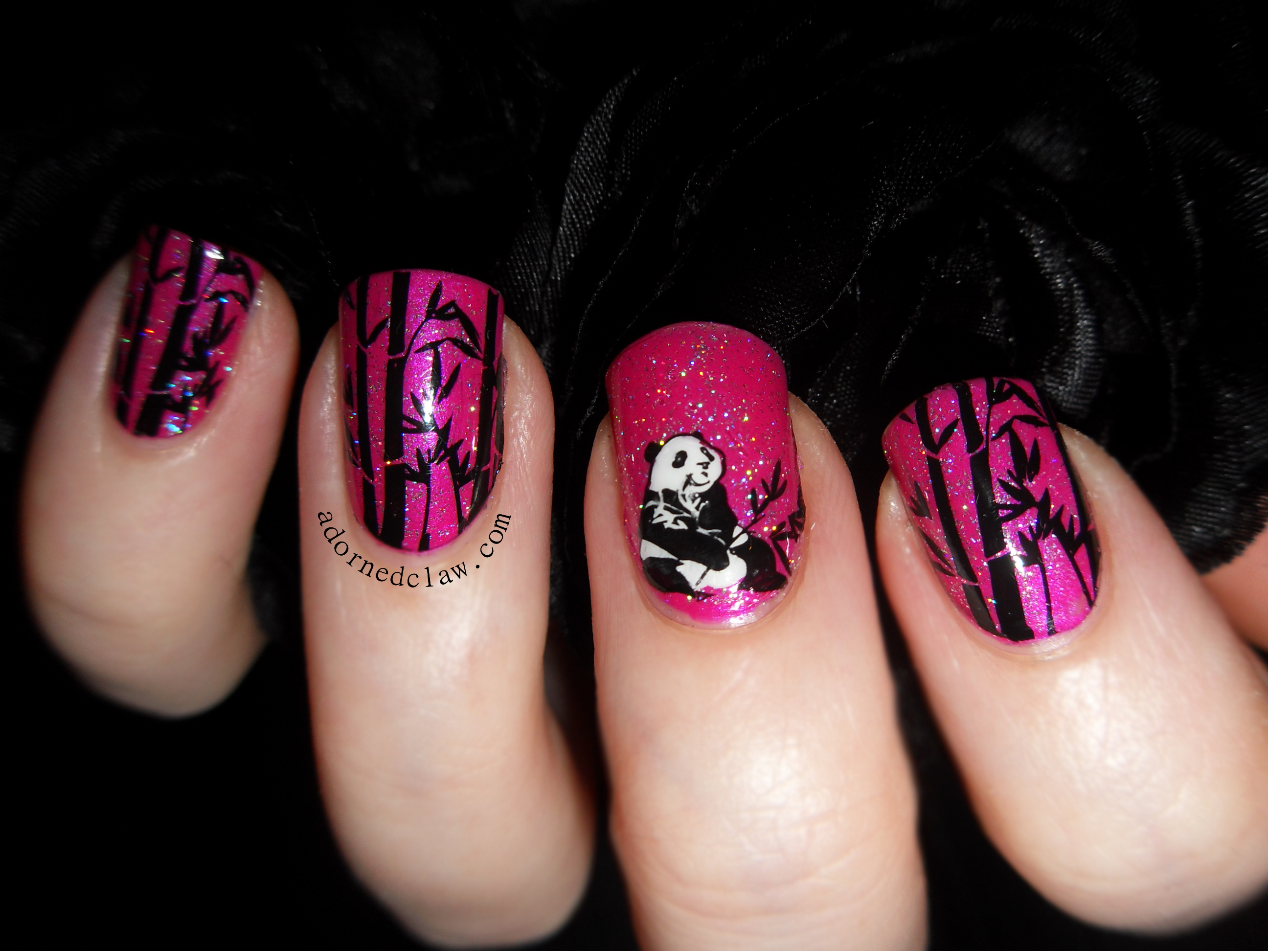 Pink panda stamped decal nail art the adorned claw panda nails prinsesfo Image collections