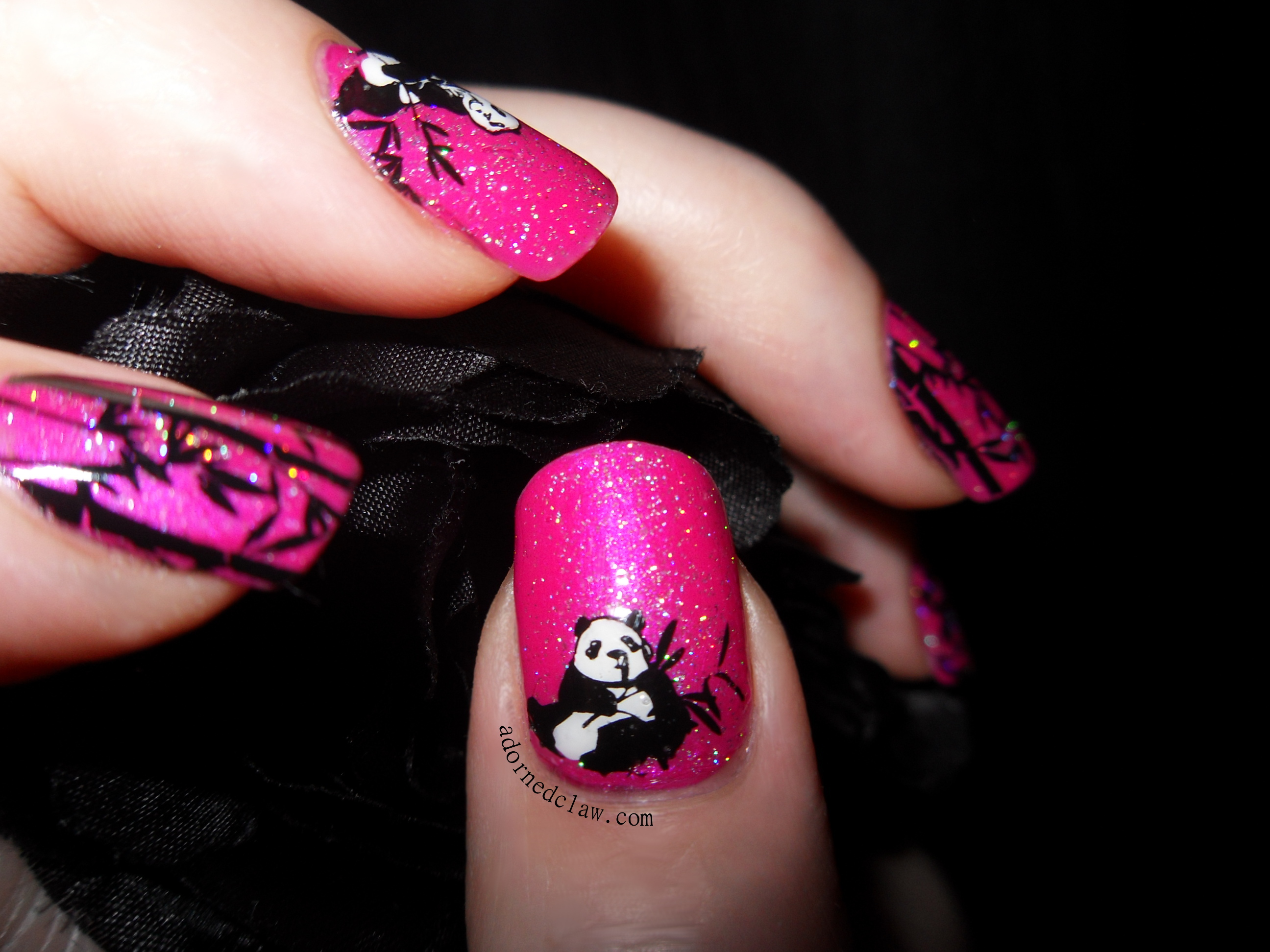 Pink panda stamped decal nail art the adorned claw pink panda and bamboo nails prinsesfo Gallery