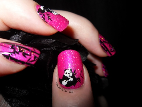 Pink panda and Bamboo Nails