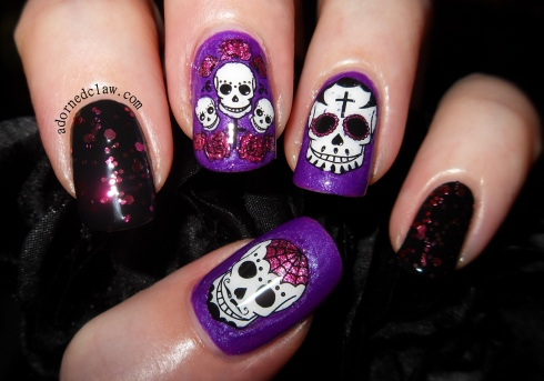 Pink and Purple Sugar Skull Nail Art