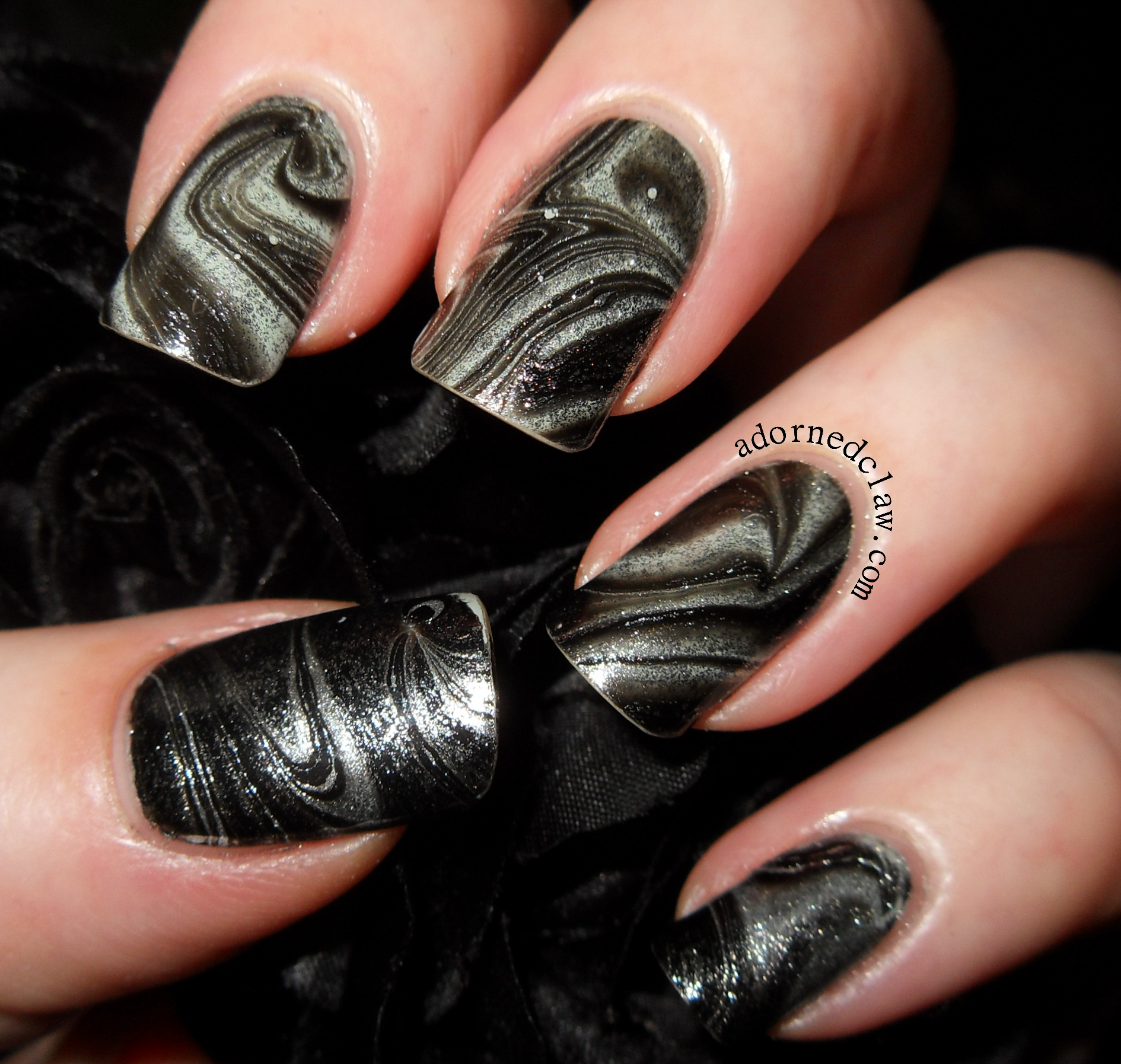 The Adorned Claw: Black And Silver Water Marble