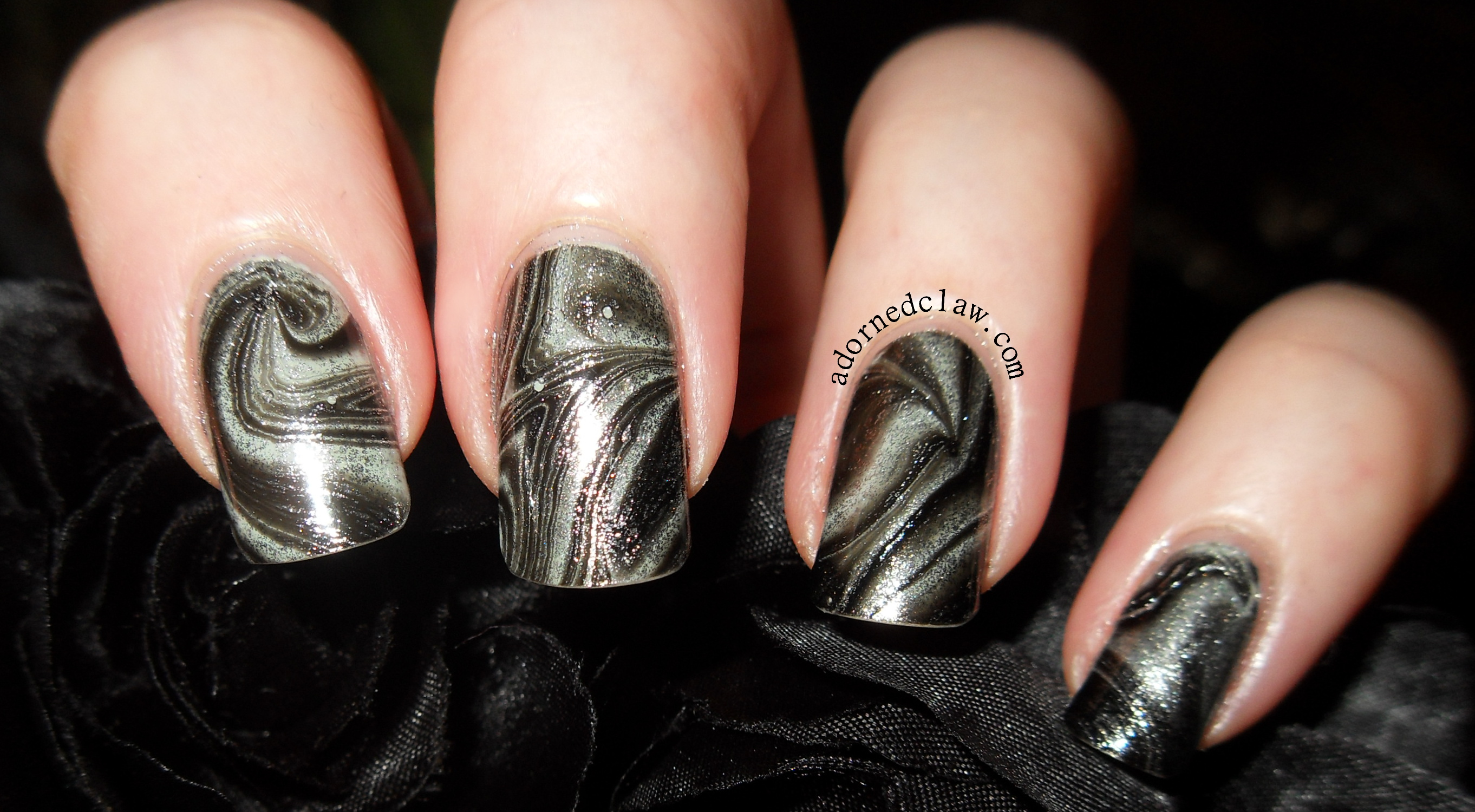 Black And Silver Water Marble The Adorned Claw
