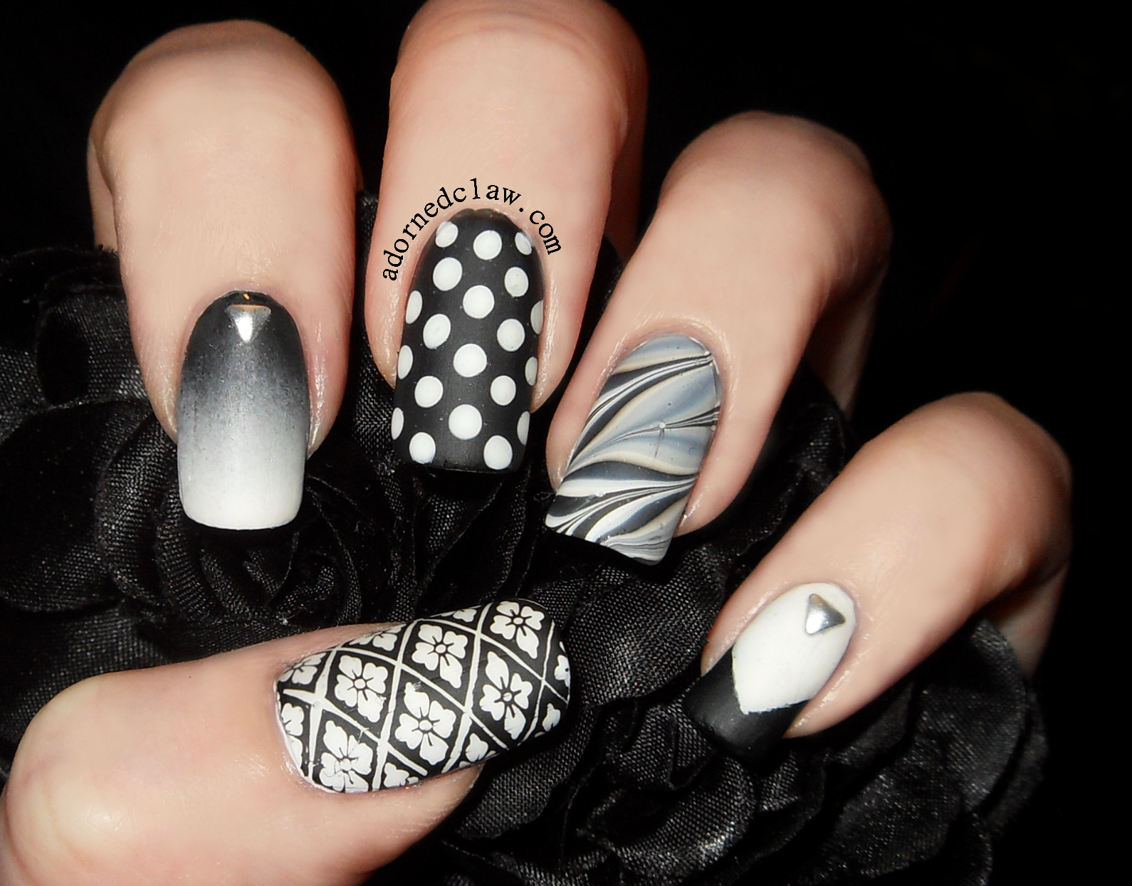 Got Polish Challenge -Skittle! Matte Black and White. | The Adorned Claw