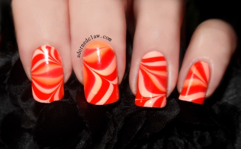 Orange Water Marble Nail Art
