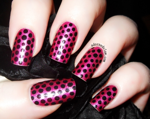 Color Club Hot like Lava With Orly Liquid Vinyl dots.