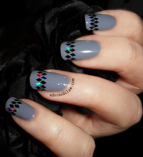 Grey and Black Glitter Placement Nail Art