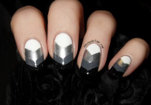 Black White Silver Grey Chevron Nail Art