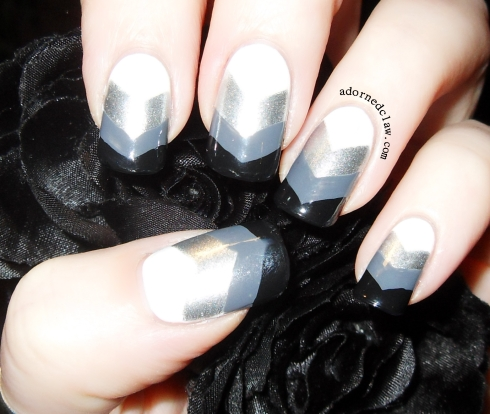 Black White Silver Grey Chevron Nail Art