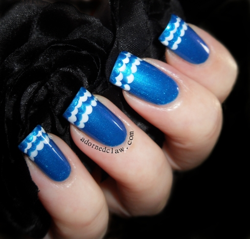 Blue Ruffle Nail Art
