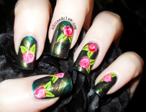 Braided Rose Nail Art