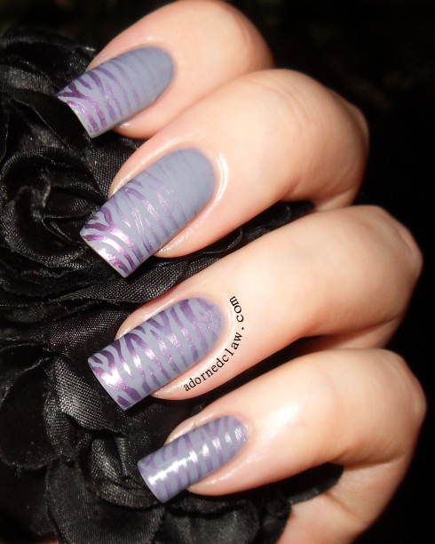 Purple Grey Zebra Nail Art