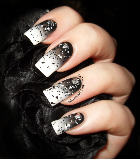 Black and White Gradient Nail Art