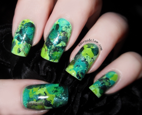 Green Splatter Nails