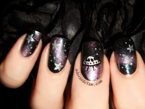 Purple Holographic Galaxy Nails