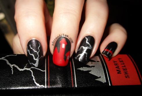 frankenstein inspired nail art