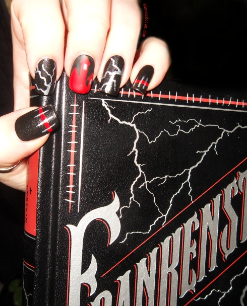 red and black frankenstein nails