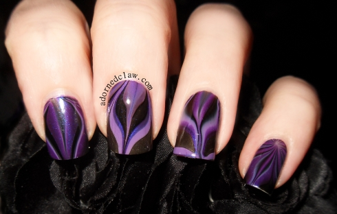Purple and Black Watermarble Nail Art