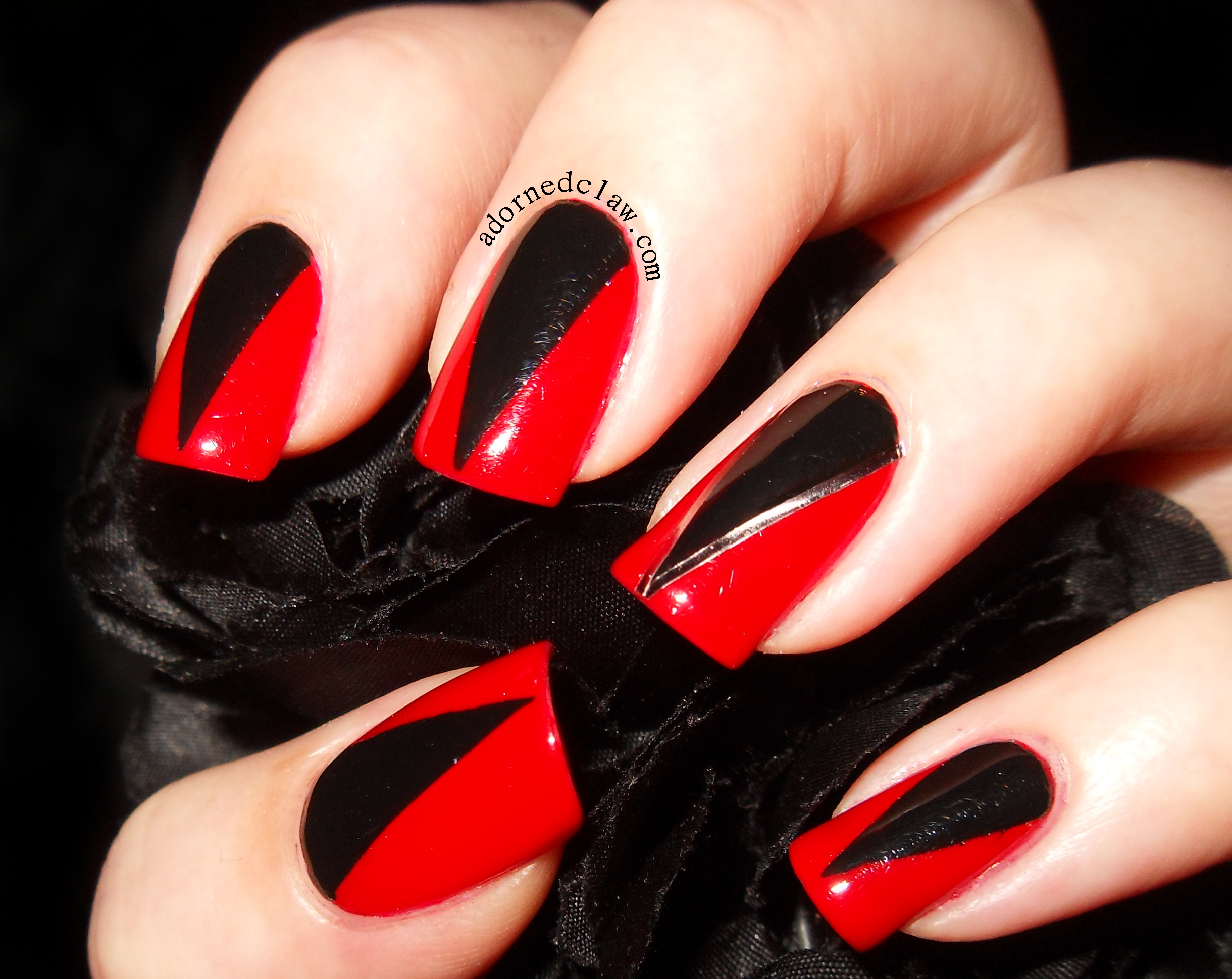 Stiletto Nails With Red Polish And Black Glitter Gel Together With Red