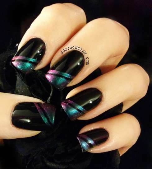Chanel black satin with sally hansen nail prisms