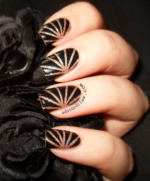 Glitter stripe nail art