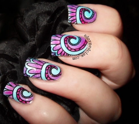 Pink blue and purple lead light nails
