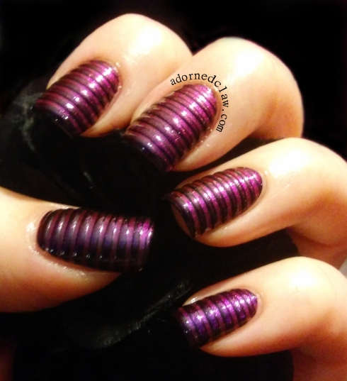 purple duochrome striped nail art