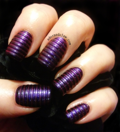 Purple Stripe Textured Nail Art