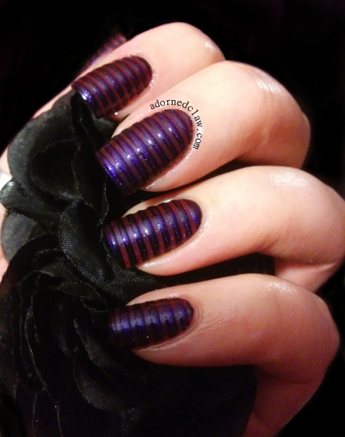 Striped Purple Nails