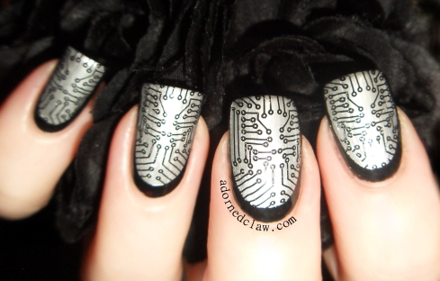 circuit board stamp ruffian nail art