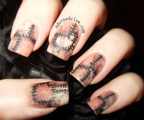 Patchwork Flesh Halloween Nails