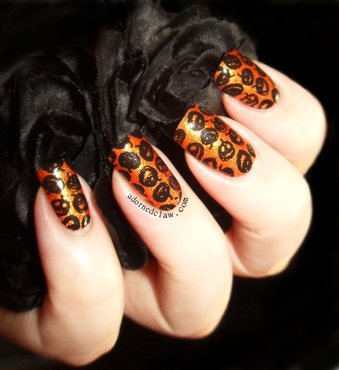 Orange Pumpkin Nails