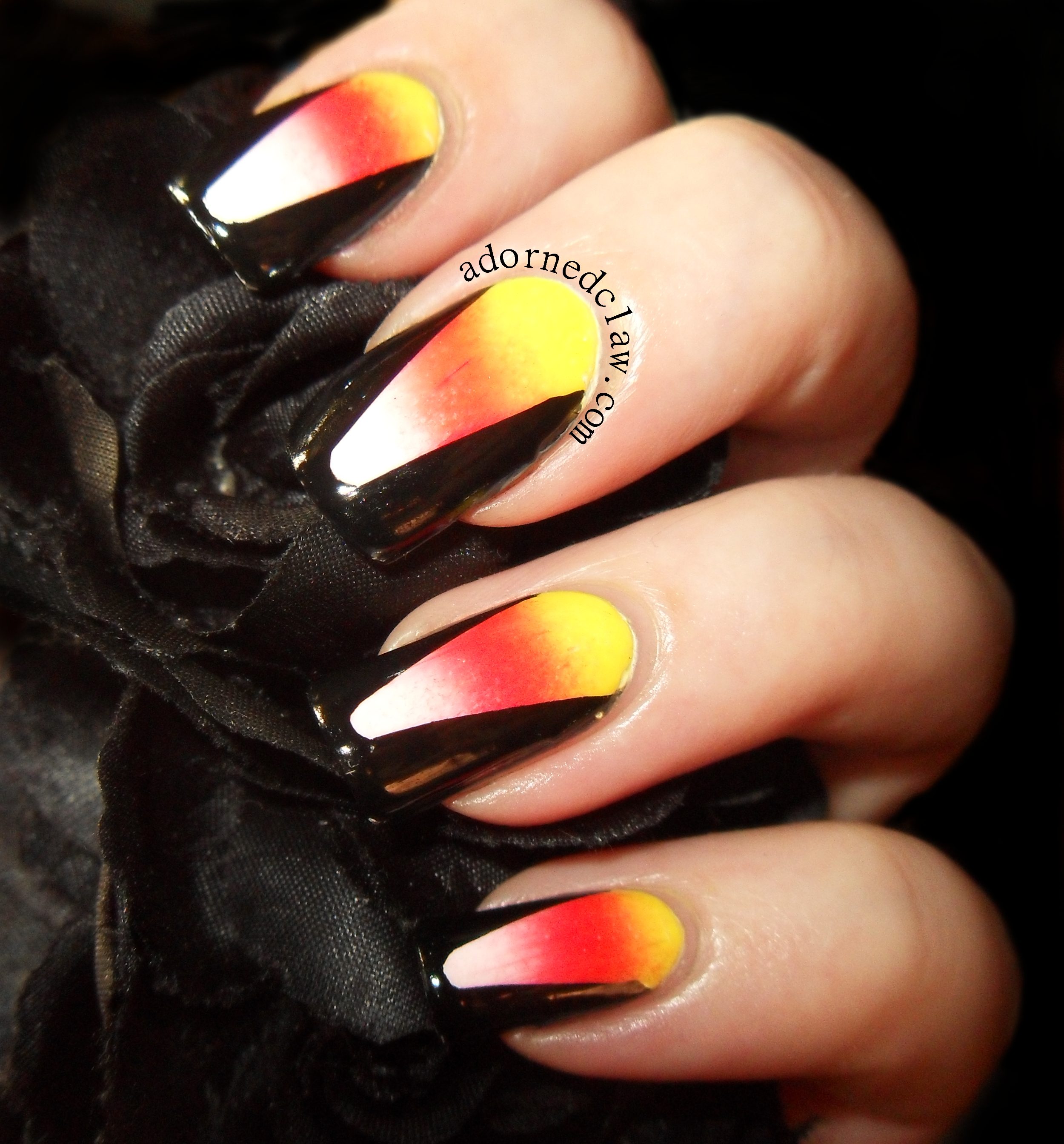 Candy corn halloween nails the adorned claw candy corn nails prinsesfo Image collections