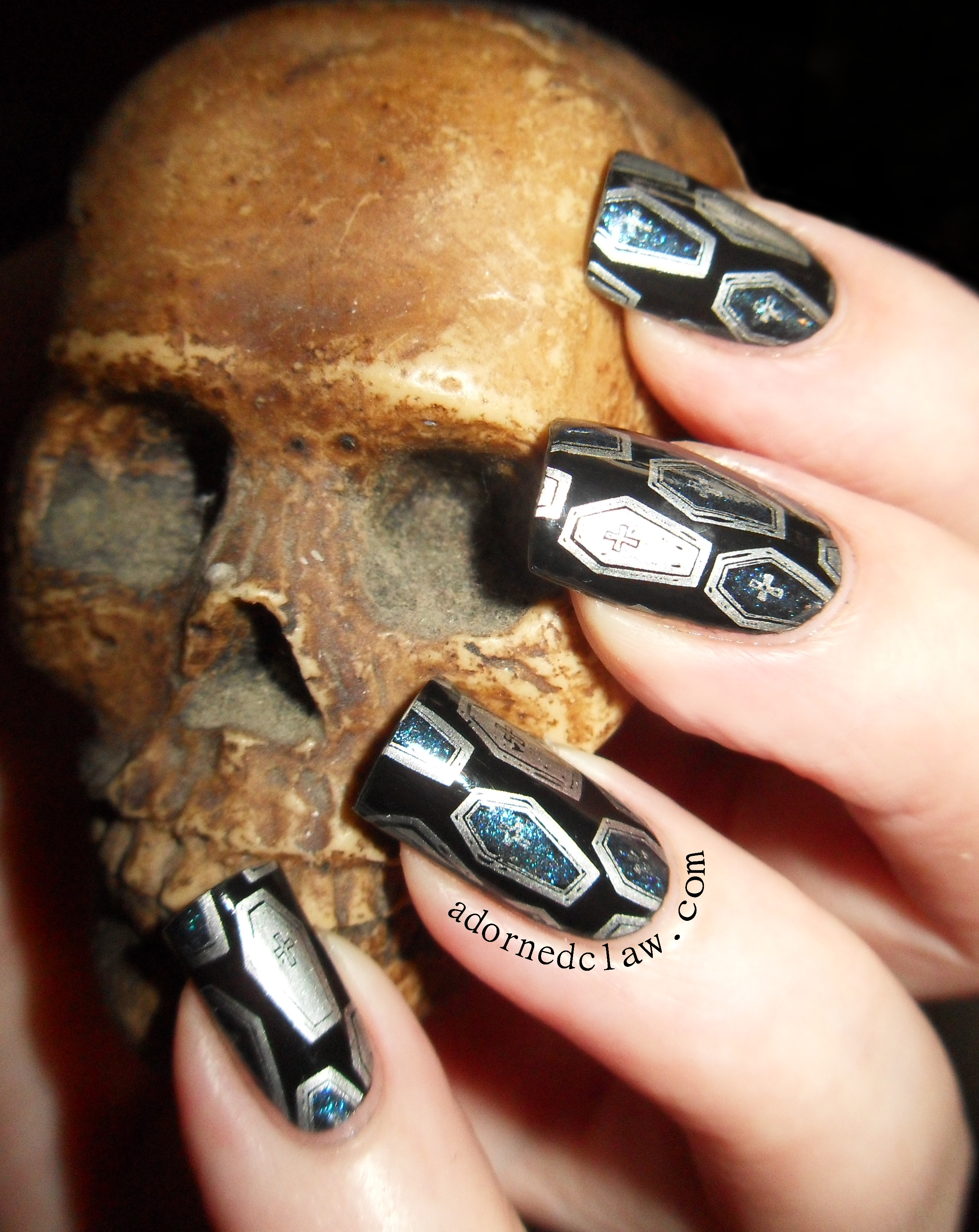 Leadlight Coffin Nail Art | The Adorned Claw