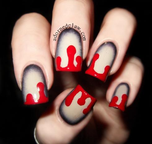 Color Drip Nails Dripping Blood Nail Art
