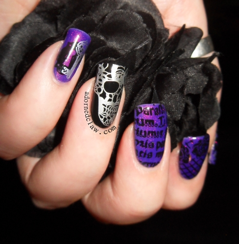Moyou Gothic Collection Purple Glitter Nail art