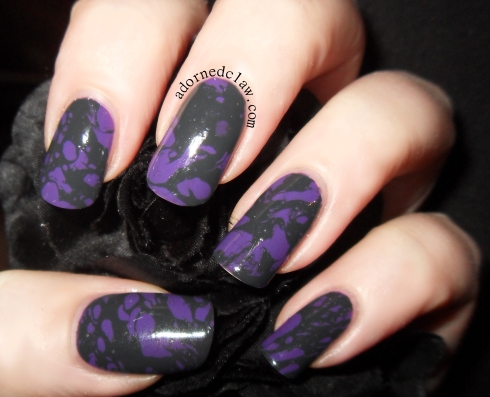 Grey and purple water spot manicure