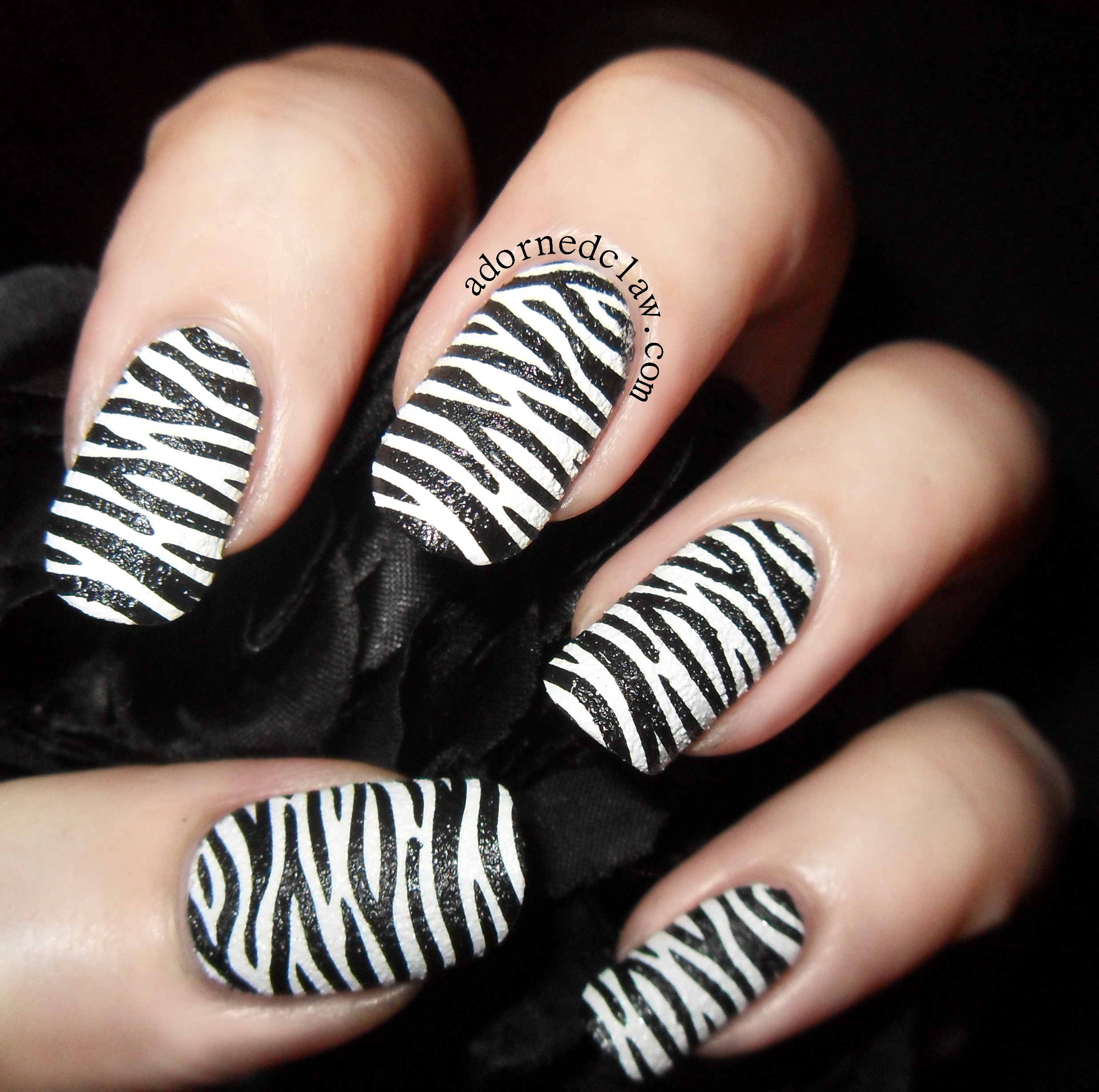 Textured Zebra Nails The Adorned Claw